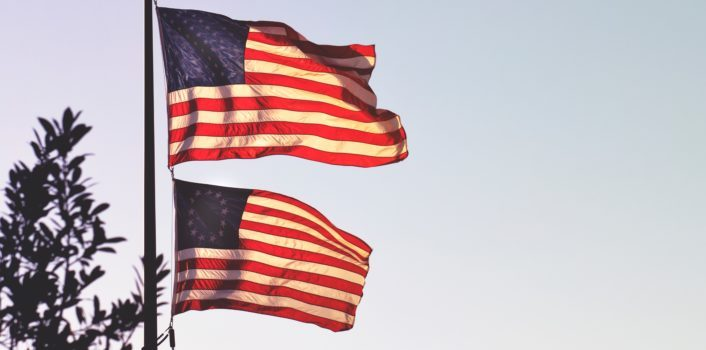 American Flag and Betsy Ross Flag on a Flag Post